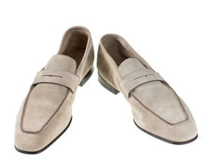 SANTONI Taupe Suede Loafer Shoes 8.5 (EU 7.5) Hand-made in Italy