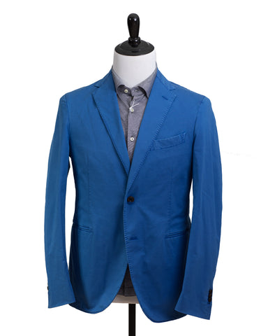 BOGLIOLI Royal Blue Slim-Fit Cotton & Linen Suit 38 (EU 48) Made in Italy