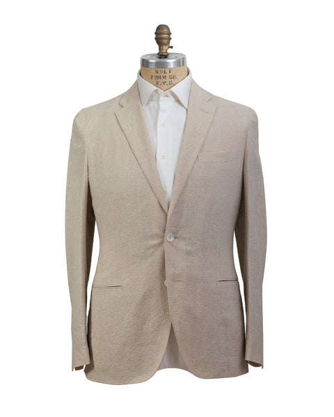 BOGLIOLI DOVER Beige Gingham Triblend Two-Button Sportcoat 40 (EU 50) Made in Italy