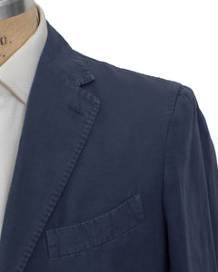 BOGLIOLI COAT Dyed Blue Cotton~Linen Slim Sportcoat 40 (EU 50) Made in Italy