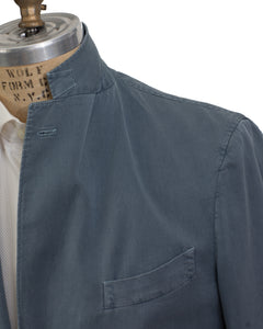 BOGLIOLI COAT Dyed Blue Chambray Cotton~Silk Sportcoat 46 (EU 56) Made in Italy