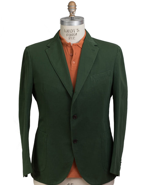 BOGLIOLI COAT Dyed Green Cotton~Linen Sportcoat 48S (EU 60) Made in Italy