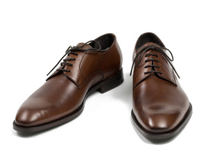 CANALI 1934 Brown Leather Derby Shoes 8 (41) Hand-made in Italy