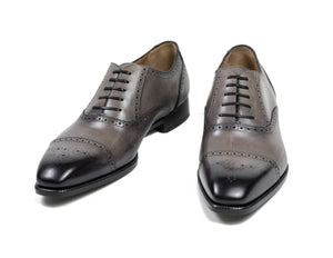Scarpe DI BIANCO Gray Burnished Leather Shoes 11.5 Hand-made in Italy