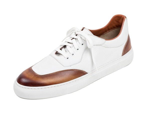 Scarpe DI BIANCO Burnished Leather Sneakers Shoes 9 Hand-made in Italy