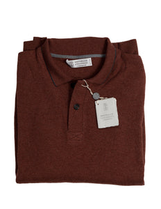 BRUNELLO CUCINELLI Pure Cashmere Maroon Polo Sweater XL (56) Made in Italy