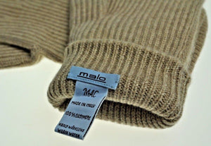 Malo Pure Cashmere Ribbed Tan Gloves M