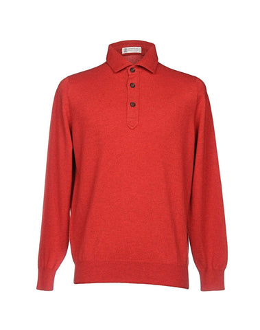 BRUNELLO CUCINELLI Pure Cashmere Red Polo Sweater ~ Made in Italy