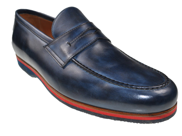 Bontoni Blue Patina Leather Loafers Shoes ~ Handmade in Italy