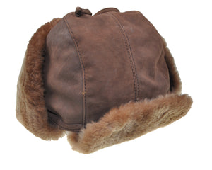 SCHIATTI & C. Genuine Leather and Rabbit Fur Hat XL ~ Made in Italy