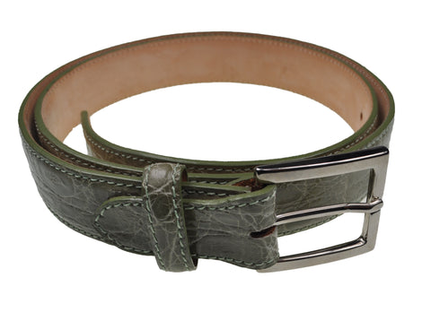 Schiatti & C. Genuine Porosus Crocodile Aqua Green Belt 36 Hand-made in Italy