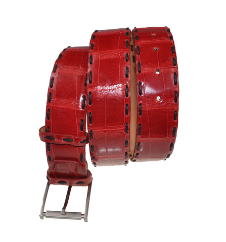 Schiatti & C. Genuine Porosus Crocodile Red Belt 38-40 Hand-made in Italy
