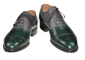 Roberto Ugolini Green/Gray Calf Leather Shoes 9 (IT 42) Hand-made in Italy