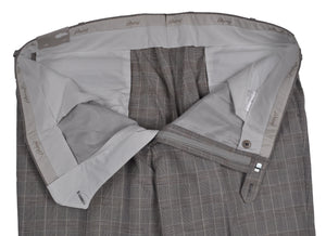 Brioni Gray Plaid Wool & Linen Canazei Pants ~ Made in Italy