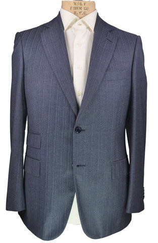 Sartoria CASTANGIA Blue Super 140's Wool Two-Button Suit 40 (EU 50) Handmade in Italy (Silk Lined)