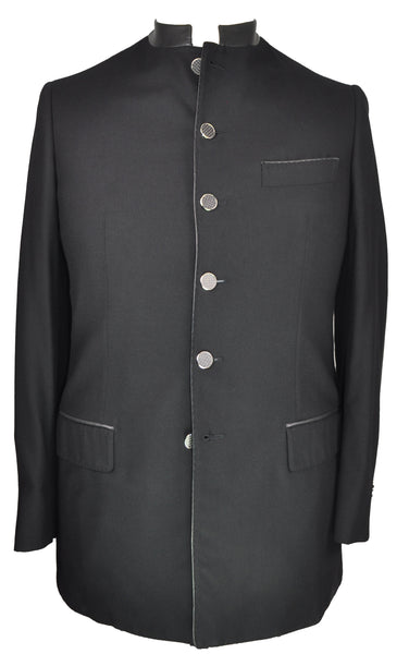 Sartoria CASTANGIA Black Baby Cashmere Suit 40 (EU 50) Handmade in Italy w/Leather Details