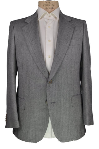 Sartoria CASTANGIA Two-Button Gray Wool Suit 38 (EU 48) Handmade in Italy