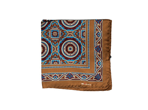 Kiton Napoli Printed Silk Pocket Square ~ Made in Italy