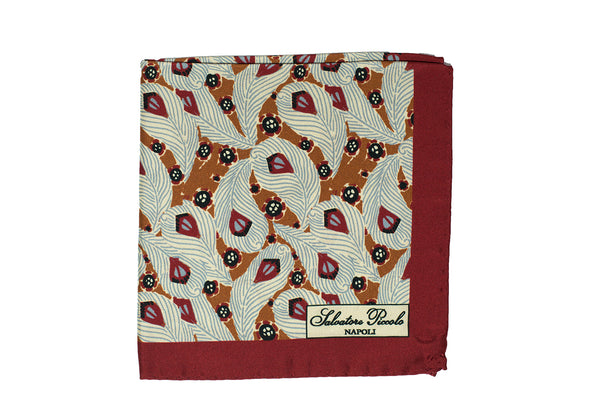 Salvatore Piccolo Napoli Printed Silk Pocket Square ~ Made in Italy