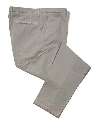 BOGLIOLI Mud Gray Slim-Fit Stretch Cotton Pants ~ Made in Italy