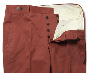 ORAZIO LUCIANO Napoli Dark Red Cotton Pants 32 (EU 48) Handmade in Italy