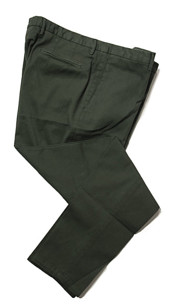 BOGLIOLI Green Slim-Fit Stretch Cotton Pants ~ Made in Italy