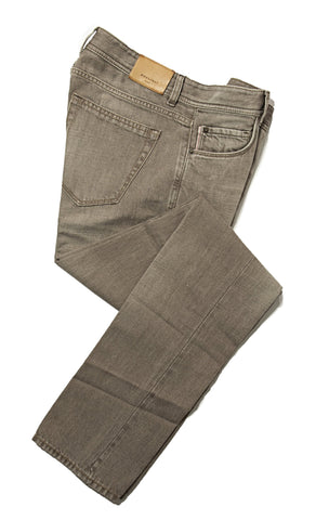 BOGLIOLI Stone Denim Selvedge Cotton & Linen Jeans ~ Made in Italy