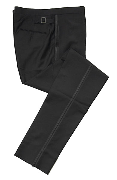 BOGLIOLI Black Wool & Mohair Tuxedo Pants ~ Made in Italy