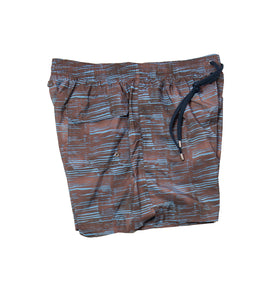 BOGLIOLI Brown/Blue Printed Swim Shorts M Made in Italy