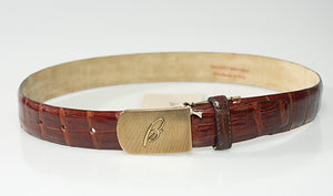 Brioni Genuine Crocodile Brown Belt 28 (EU 75) Made in Italy