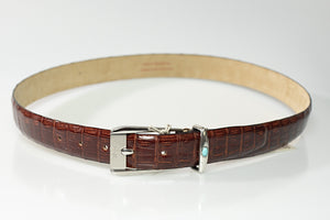 Brioni Genuine Crocodile Brown Belt 34 (EU 85) Made in Italy
