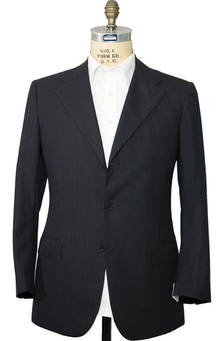 Kiton Napoli Navy Striped Wool Suit 42 (EU 52) Handmade in Italy