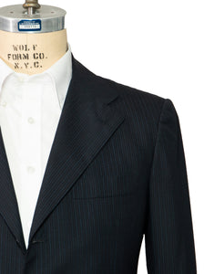 Kiton Napoli Navy Blue Striped Wool Suit 42 (EU 52) Handmade in Italy