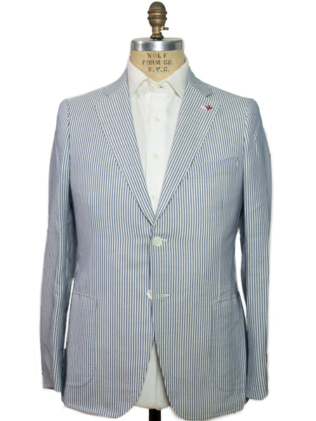 ISAIA Napoli Seersucker Two-Button Slim Sportcoat ~ Handmade in Italy