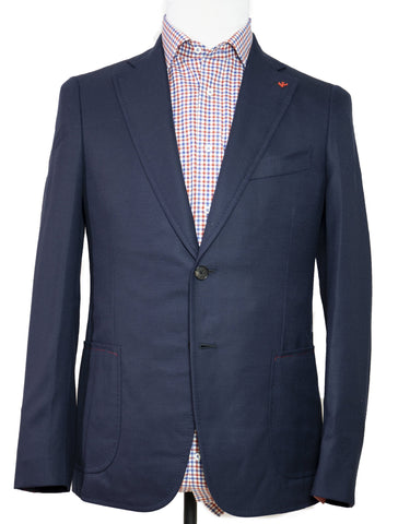 ISAIA Napoli Navy Blue Two-Button Slim Sportcoat 42 (EU 52) Handmade in Italy