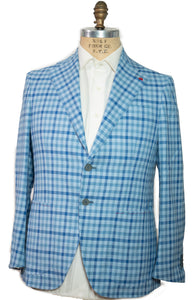 ISAIA Napoli Blue Gingham Two Button Sportcoat 40 S (EU 50) Handmade in Italy