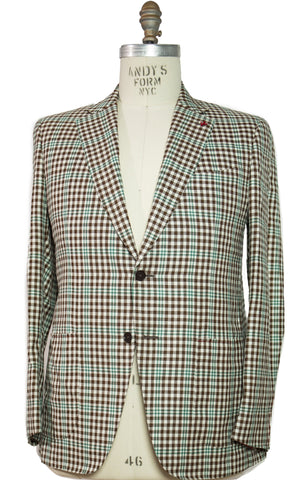 ISAIA Napoli Two-Button Gingham Sportcoat 44 (EU 56) Handmade in Italy