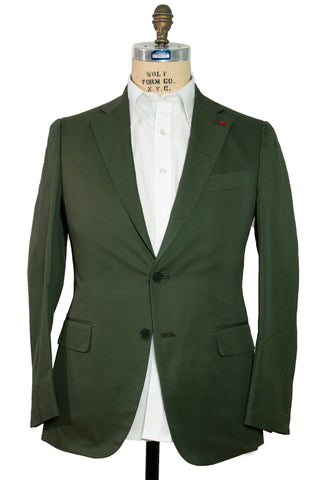 ISAIA Napoli Green Cotton Slim-Fit Suit ~ Handmade in Italy