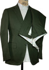 ISAIA Napoli Khaki Green Cotton Slim-Fit Two Button Suit ~ Handmade in Italy