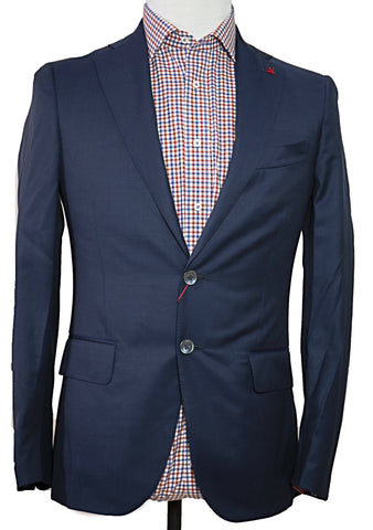 ISAIA Napoli Blue Two-Button Wool Suit 34 36 Handmade in Italy