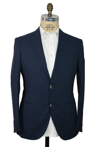 BOGLIOLI Blue Plaid Wool Suit ~ Made in Italy