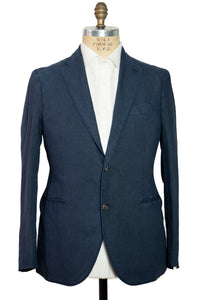 BOGLIOLI Dyed Blue Slim-Fit Linen Suit ~ Made in Italy