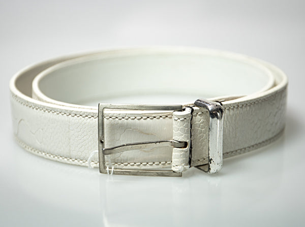 Brioni Genuine Ostrich White Belt 38 40 (EU 100) Hand-made in Italy
