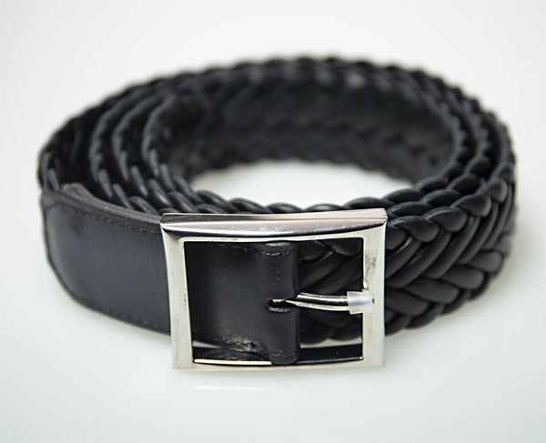 Berluti Black Calf Leather Stretch Belt XXL (EU 110) Made in Italy