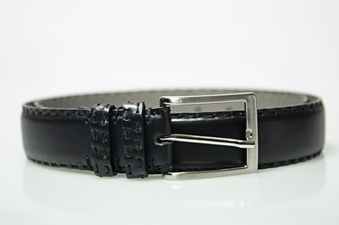 MORIGI Hand-stitched Black Calf Leather K Belt - Made in Italy