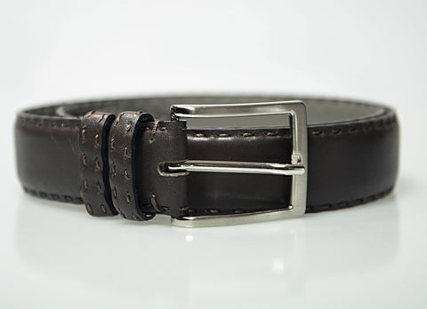 MORIGI Hand-stitched Brown Calf Leather K Belt - Made in Italy