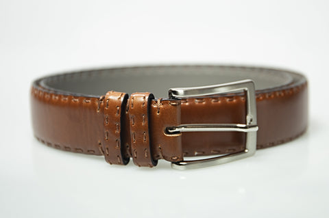 MORIGI Hand-stitched Cognac Calf Leather K Belt - Made in Italy