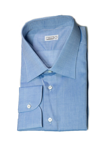 ZILLI Superfine Cotton Blue Dress Shirt 18.5 (47) Handmade in Italy