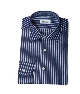 Morigi Extrafine Cotton Blue Striped Dress Shirt ~ Hand-made in Napoli, Italy