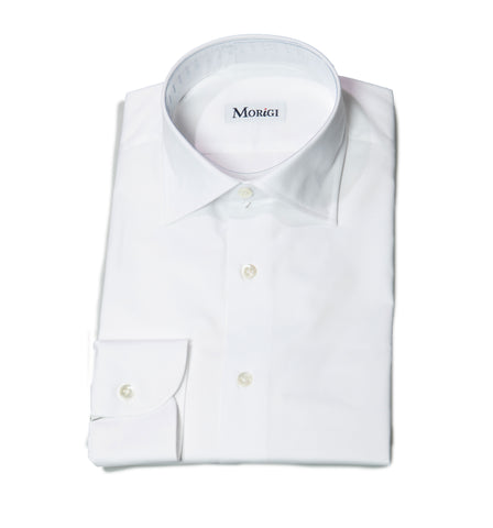 Morigi Extrafine Cotton White Dress Shirt ~ Hand-made in Napoli, Italy